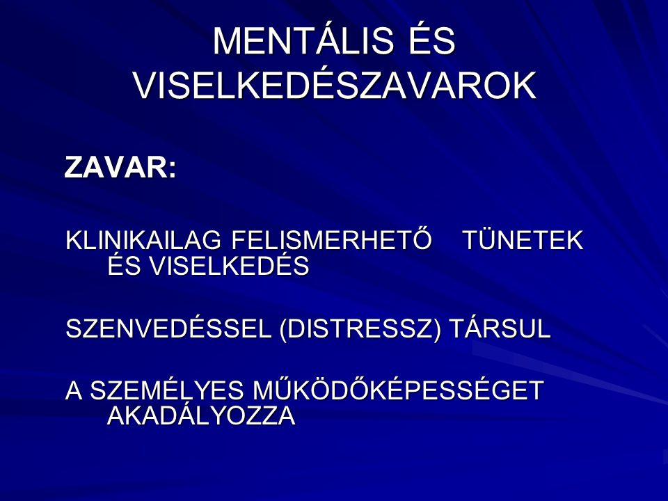 MENTÁLIS ÉS VISELKEDÉSZAVAROK
