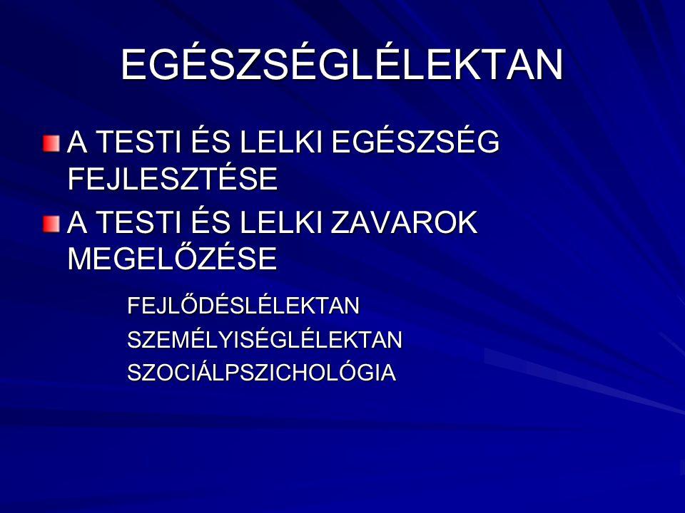 EGÉSZSÉGLÉLEKTAN A TESTI ÉS LELKI EGÉSZSÉG FEJLESZTÉSE
