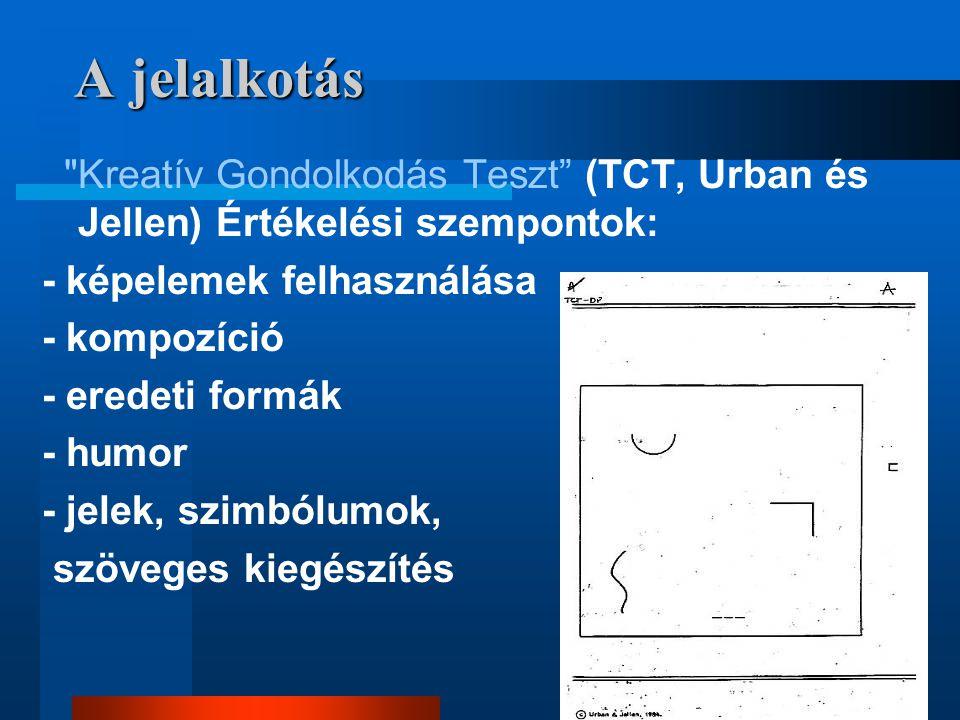 A jelalkotás Kreatív Gondolkodás Teszt (TCT, Urban és Jellen) Értékelési szempontok: - képelemek felhasználása.