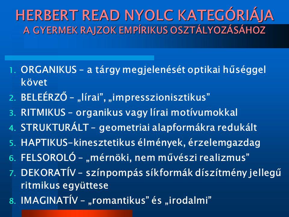 HERBERT READ NYOLC KATEGÓRIÁJA A GYERMEK RAJZOK EMPÍRIKUS OSZTÁLYOZÁSÁHOZ