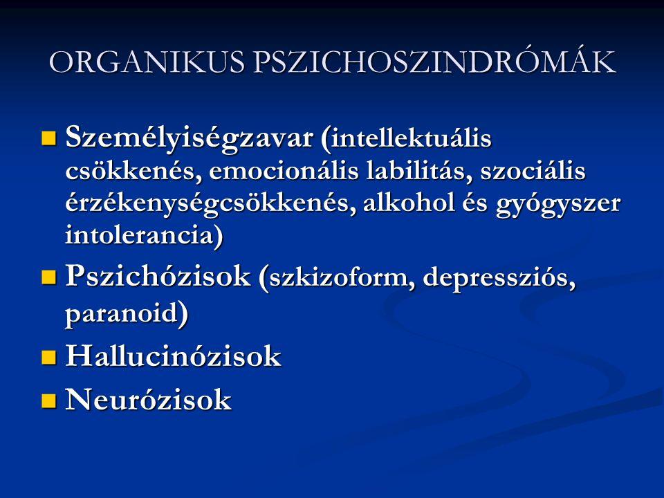 ORGANIKUS PSZICHOSZINDRÓMÁK
