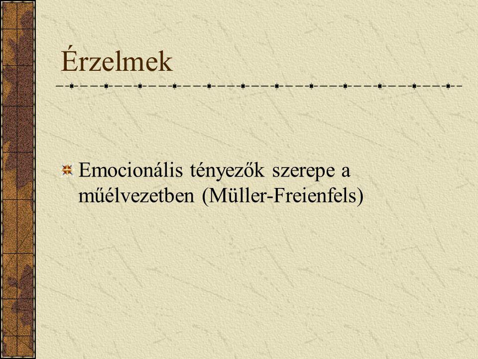 Érzelmek Emocionális tényezők szerepe a műélvezetben (Müller-Freienfels)