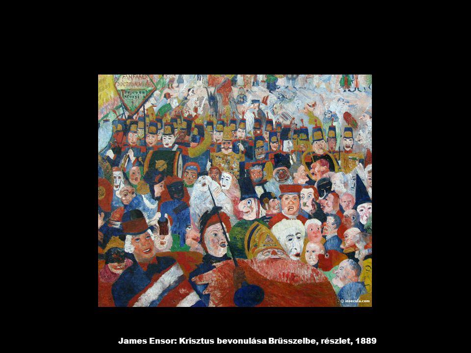 James Ensor: Krisztus bevonulása Brüsszelbe, részlet, 1889