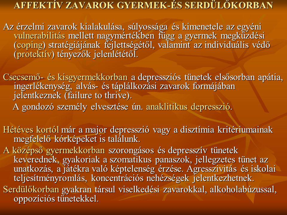 AFFEKTÍV ZAVAROK GYERMEK-ÉS SERDÜLŐKORBAN