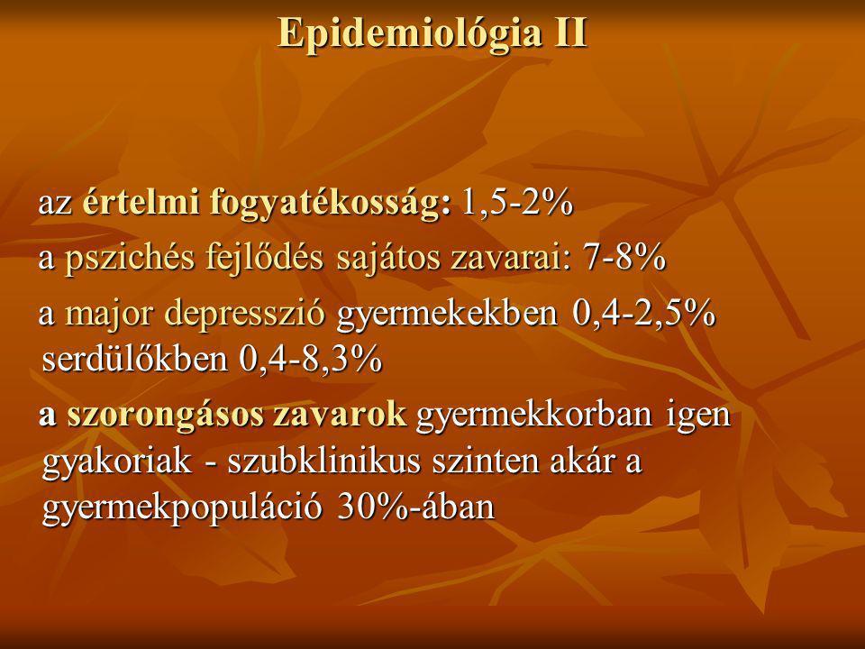 Epidemiológia II az értelmi fogyatékosság: 1,5-2%
