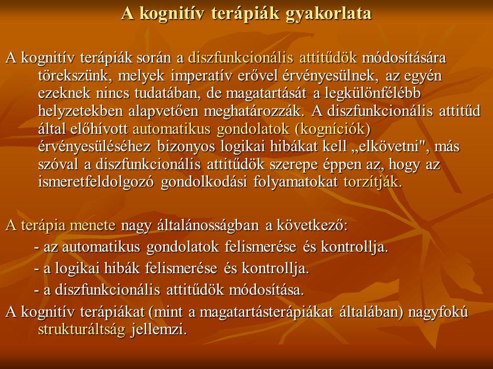 A kognitív terápiák gyakorlata