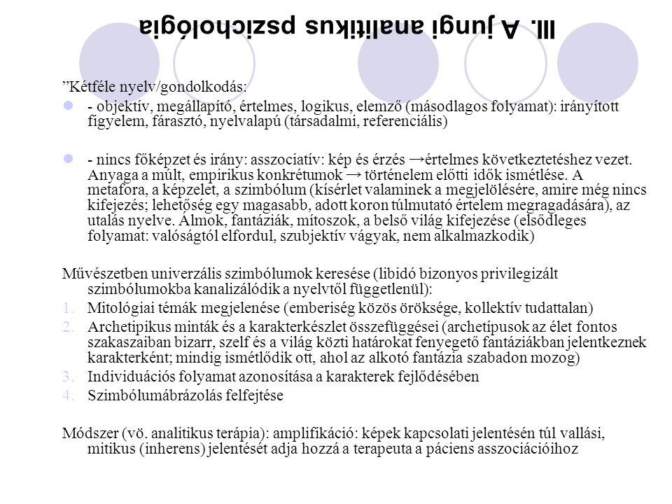 III. A jungi analitikus pszichológia