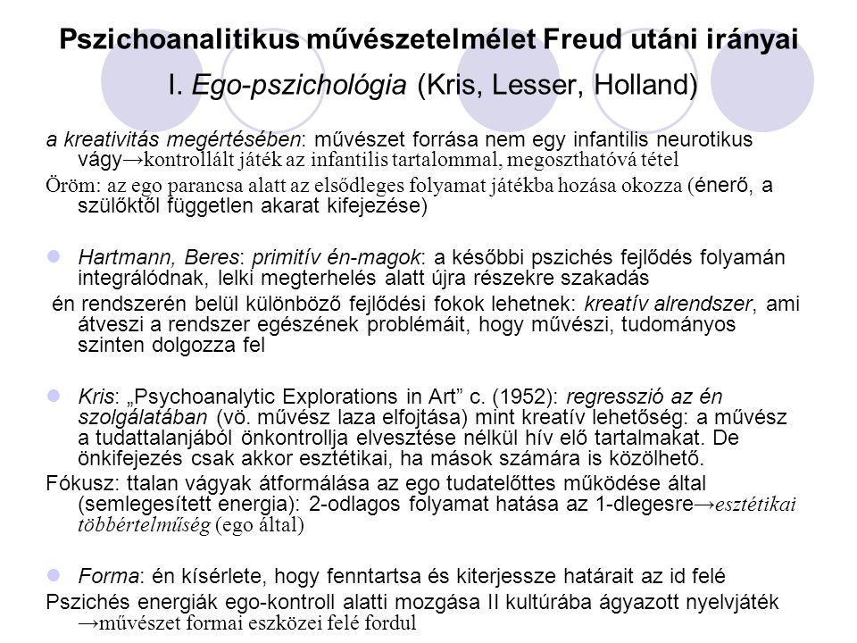 Pszichoanalitikus művészetelmélet Freud utáni irányai I