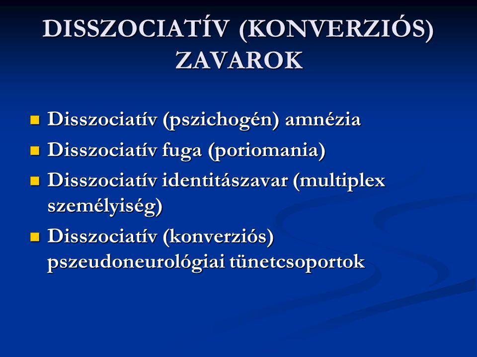 DISSZOCIATÍV (KONVERZIÓS) ZAVAROK