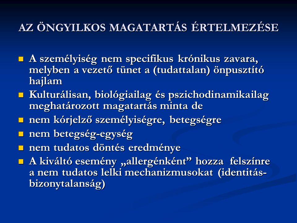 AZ ÖNGYILKOS MAGATARTÁS ÉRTELMEZÉSE