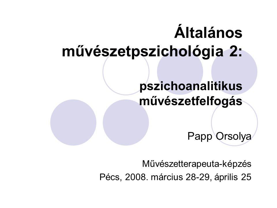 Általános művészetpszichológia 2: pszichoanalitikus művészetfelfogás