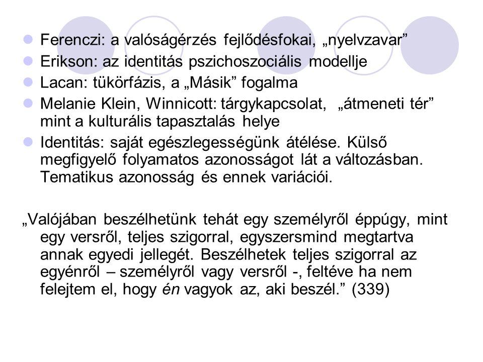 """Ferenczi: a valóságérzés fejlődésfokai, """"nyelvzavar"""