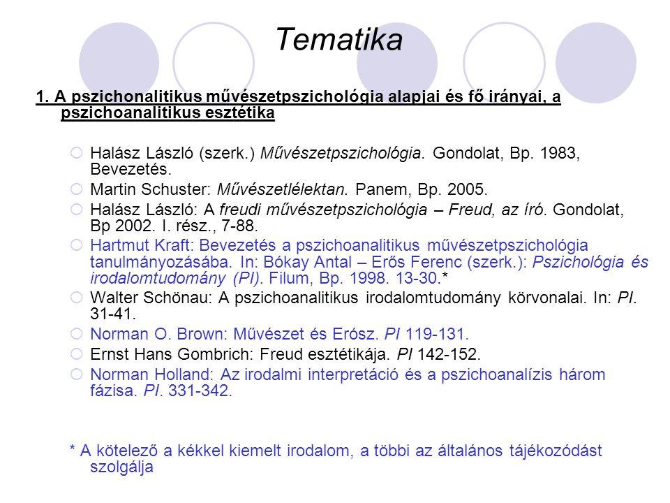 Tematika 1. A pszichonalitikus művészetpszichológia alapjai és fő irányai, a pszichoanalitikus esztétika.