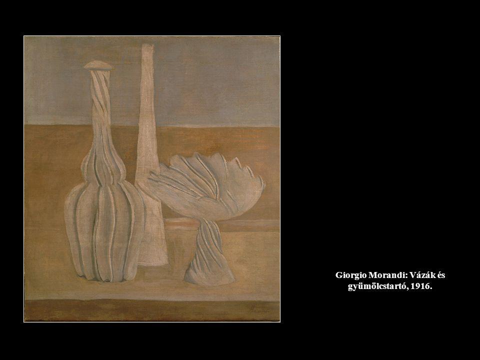 Giorgio Morandi: Vázák és gyümölcstartó, 1916.