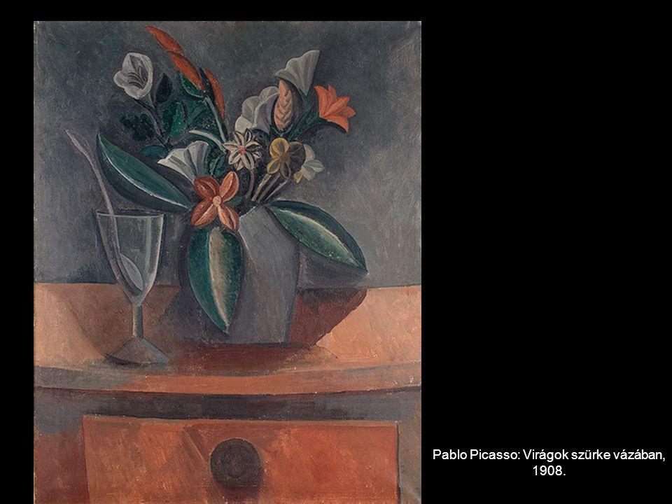 Pablo Picasso: Virágok szürke vázában, 1908.