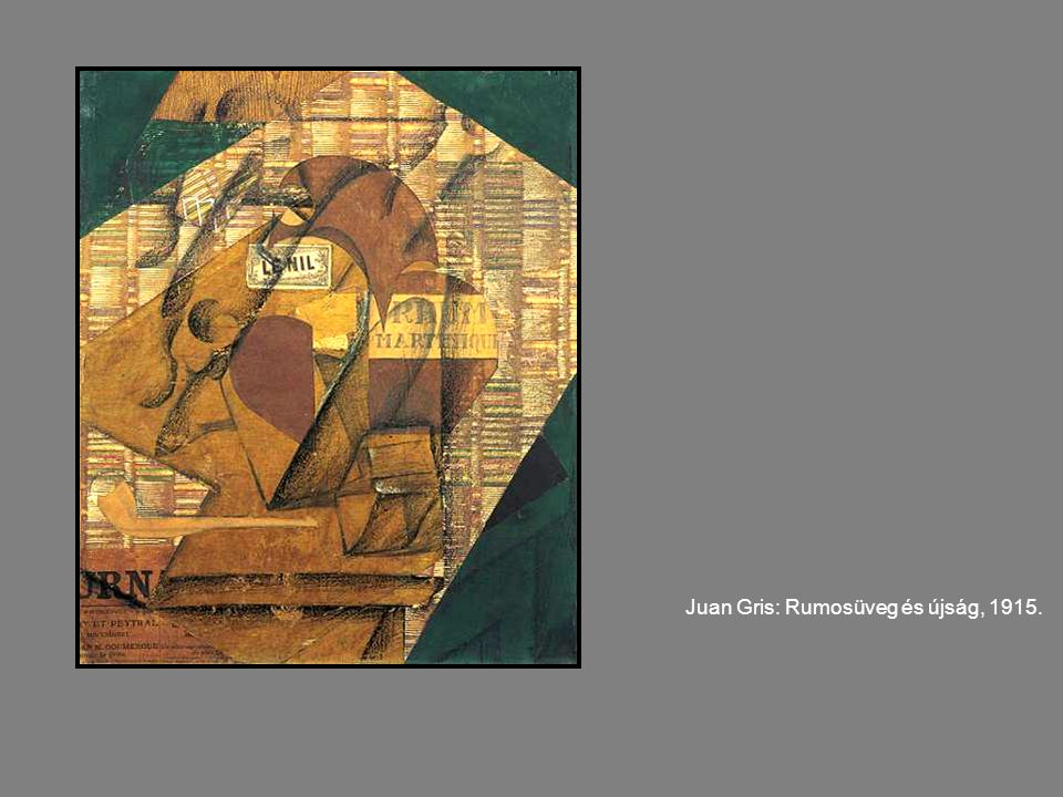 Juan Gris: Rumosüveg és újság, 1915.