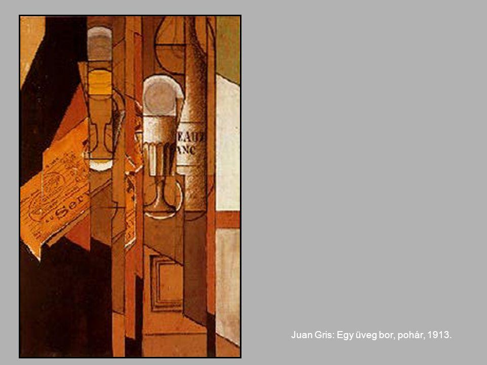 Juan Gris: Egy üveg bor, pohár, 1913.