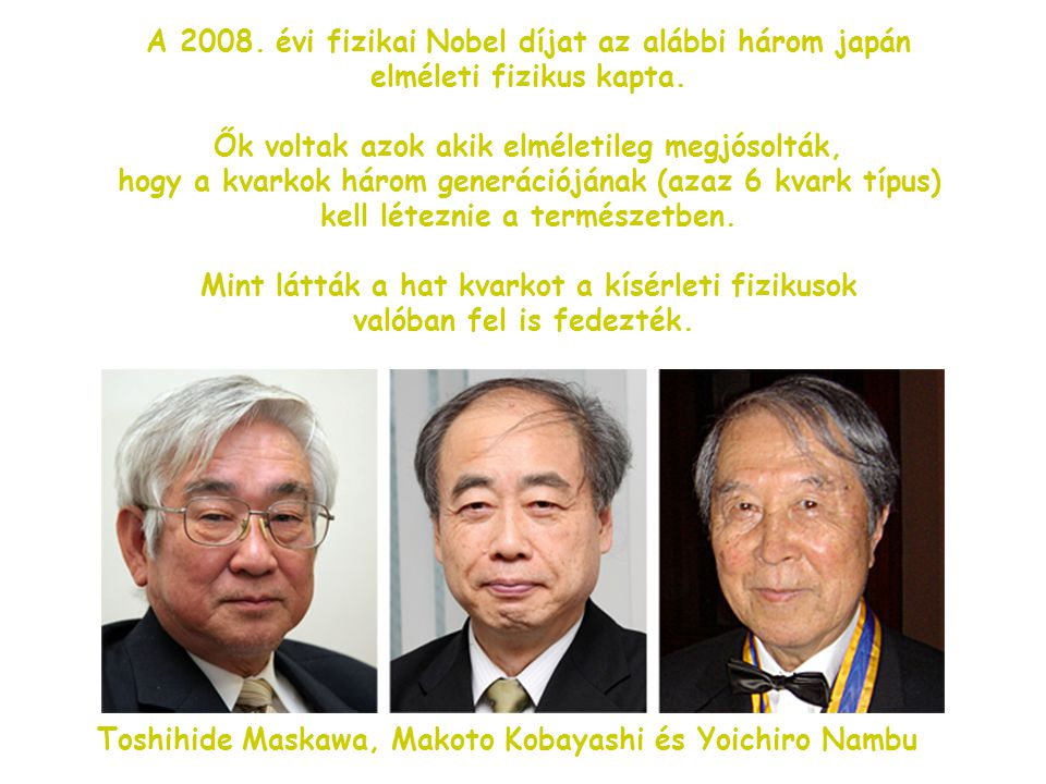 A 2008. évi fizikai Nobel díjat az alábbi három japán