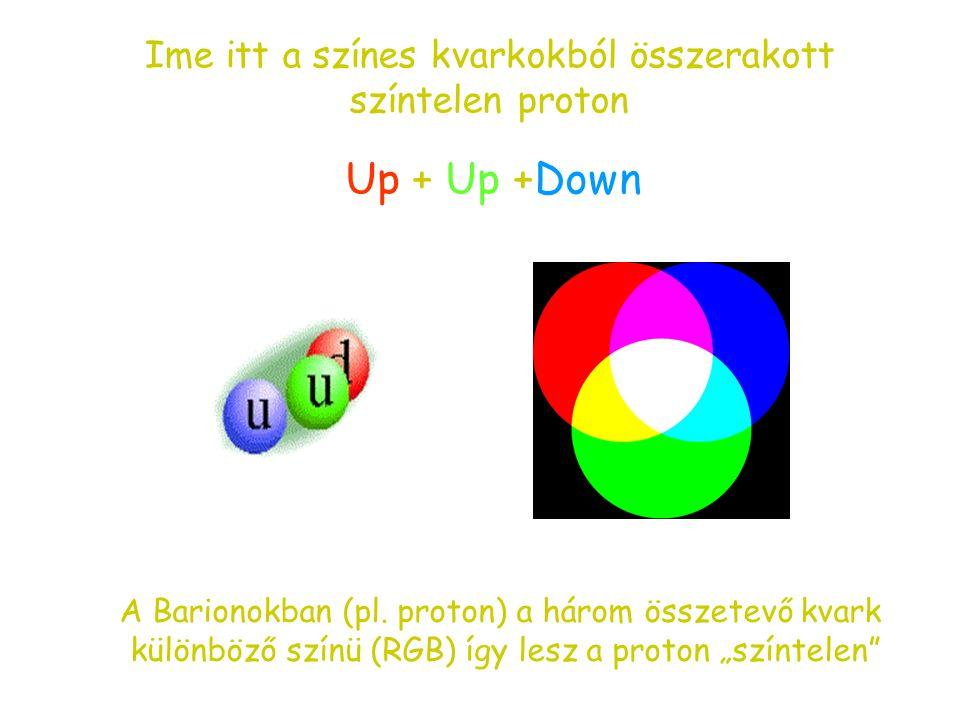 Up + Up +Down Ime itt a színes kvarkokból összerakott színtelen proton
