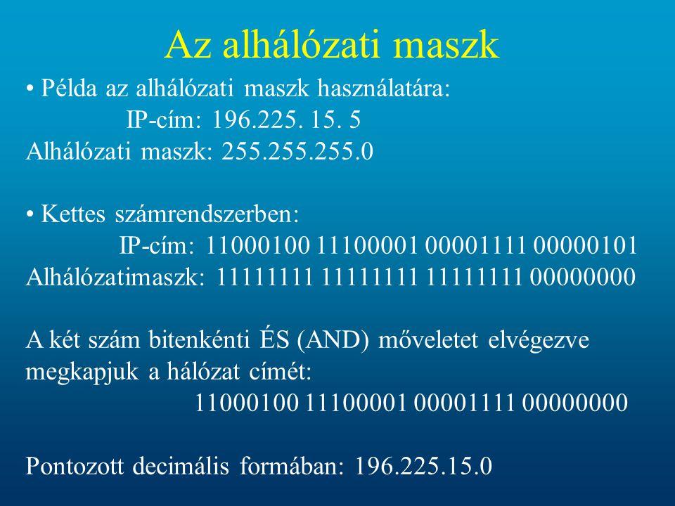 Az alhálózati maszk Példa az alhálózati maszk használatára: