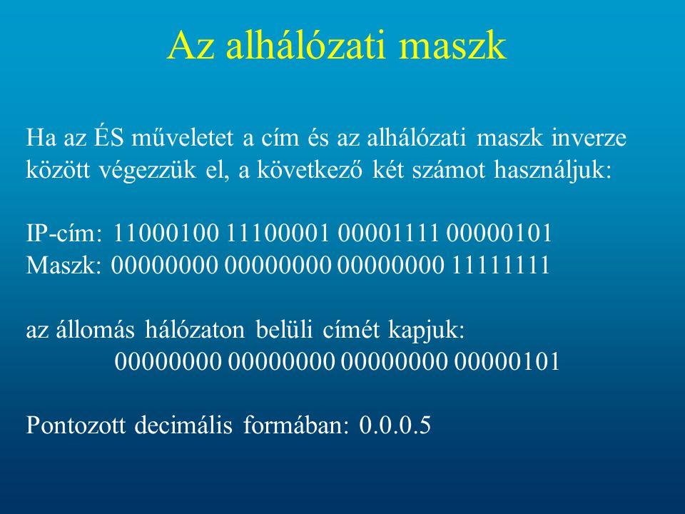 Az alhálózati maszk Ha az ÉS műveletet a cím és az alhálózati maszk inverze között végezzük el, a következő két számot használjuk: