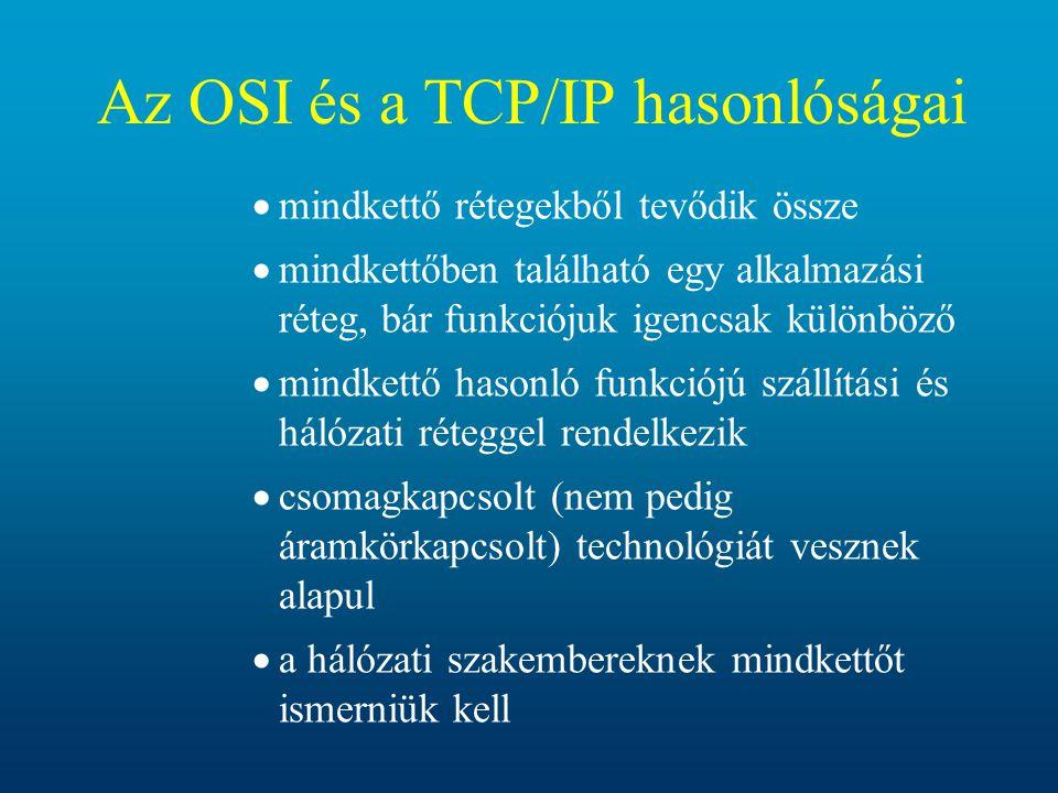 Az OSI és a TCP/IP hasonlóságai