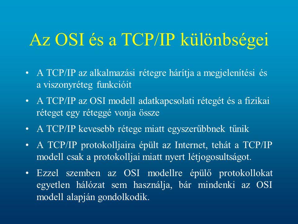 Az OSI és a TCP/IP különbségei