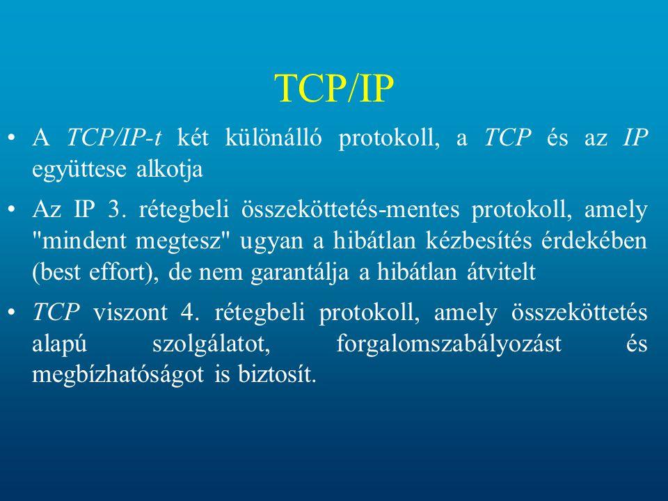 TCP/IP A TCP/IP-t két különálló protokoll, a TCP és az IP együttese alkotja.