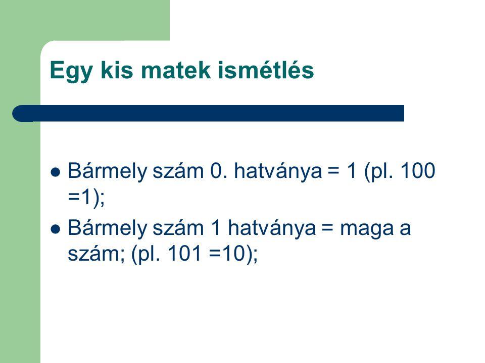 Egy kis matek ismétlés Bármely szám 0. hatványa = 1 (pl. 100 =1);