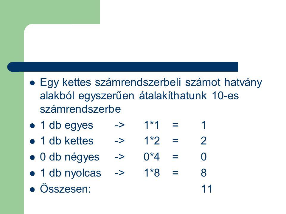 Egy kettes számrendszerbeli számot hatvány alakból egyszerűen átalakíthatunk 10-es számrendszerbe