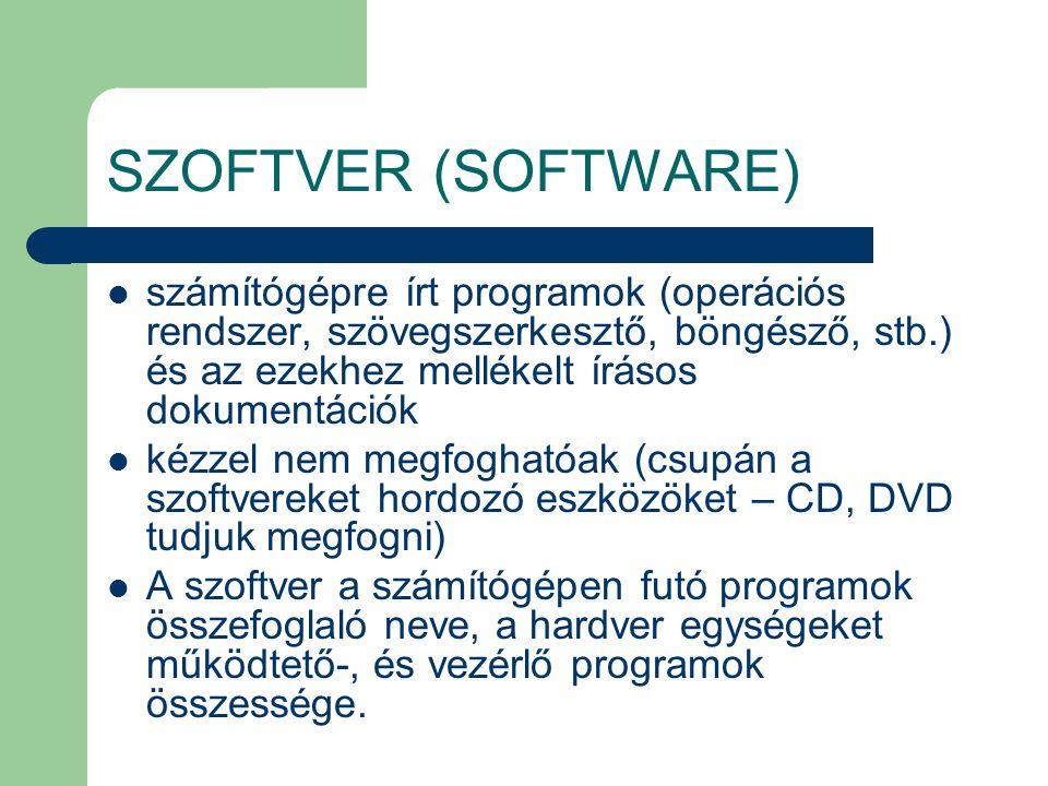 SZOFTVER (SOFTWARE) számítógépre írt programok (operációs rendszer, szövegszerkesztő, böngésző, stb.) és az ezekhez mellékelt írásos dokumentációk.