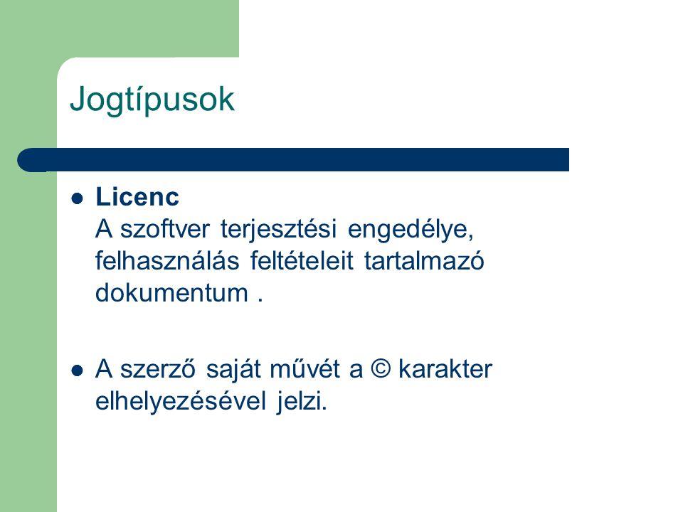 Jogtípusok Licenc A szoftver terjesztési engedélye, felhasználás feltételeit tartalmazó dokumentum .