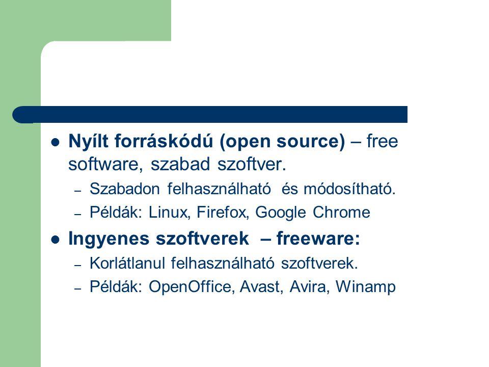 Nyílt forráskódú (open source) – free software, szabad szoftver.