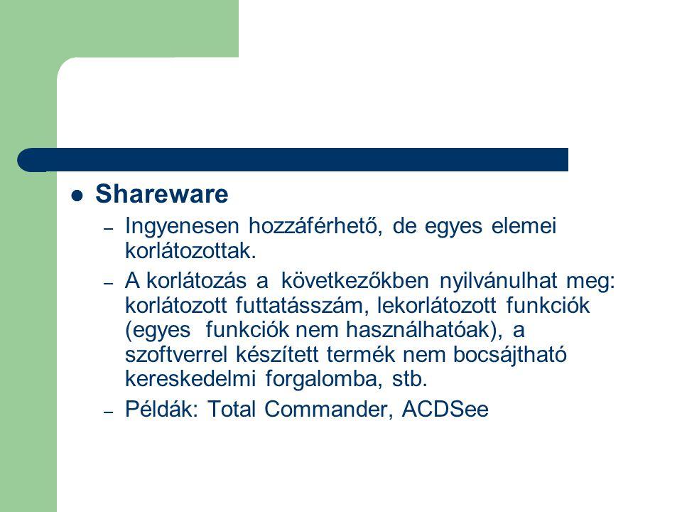 Shareware Ingyenesen hozzáférhető, de egyes elemei korlátozottak.