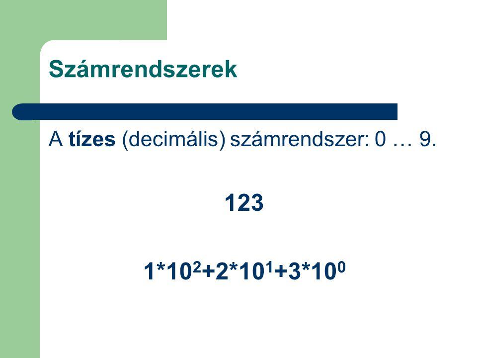 Számrendszerek A tízes (decimális) számrendszer: 0 … 9. 123 1*102+2*101+3*100