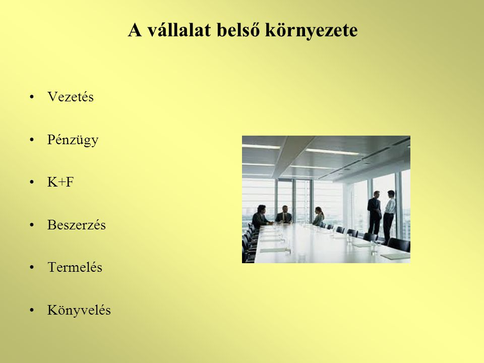 A vállalat belső környezete