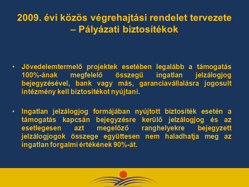 2009. évi közös végrehajtási rendelet tervezete – Pályázati biztosítékok
