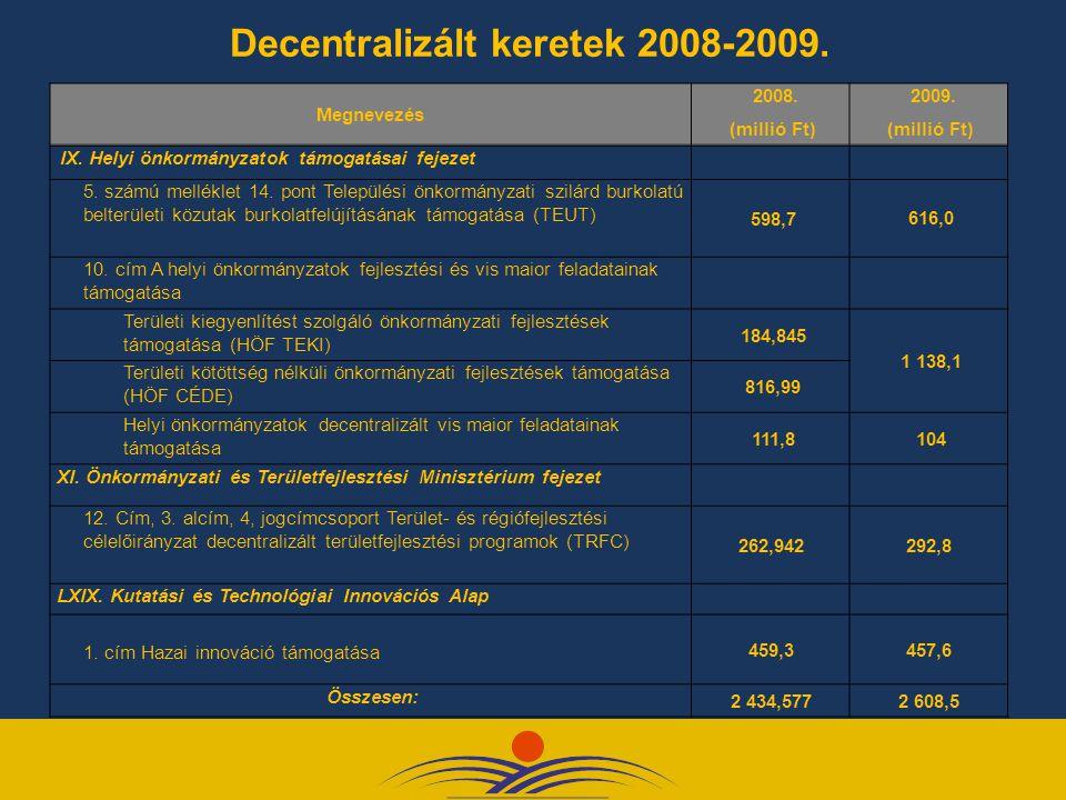 Decentralizált keretek 2008-2009.