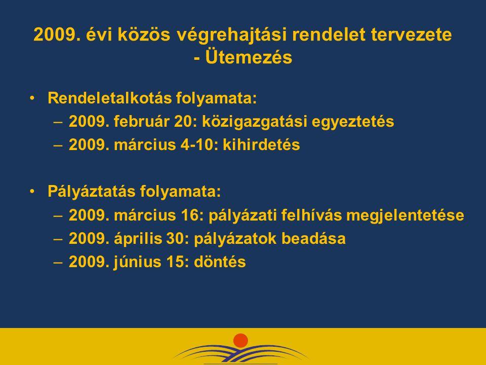 2009. évi közös végrehajtási rendelet tervezete - Ütemezés