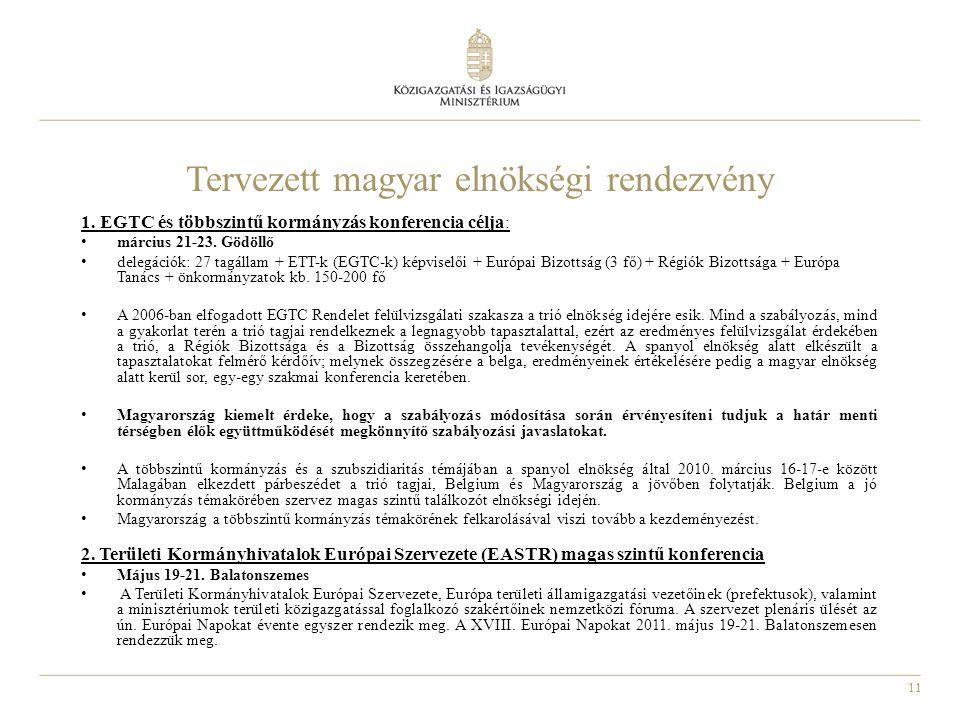 Tervezett magyar elnökségi rendezvény