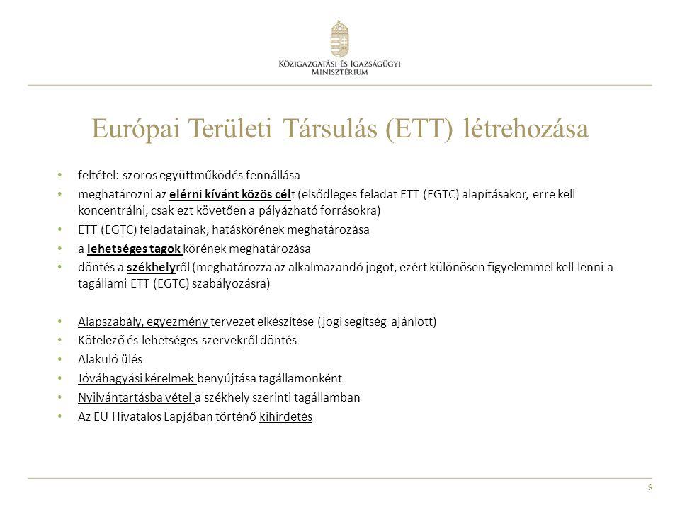 Európai Területi Társulás (ETT) létrehozása