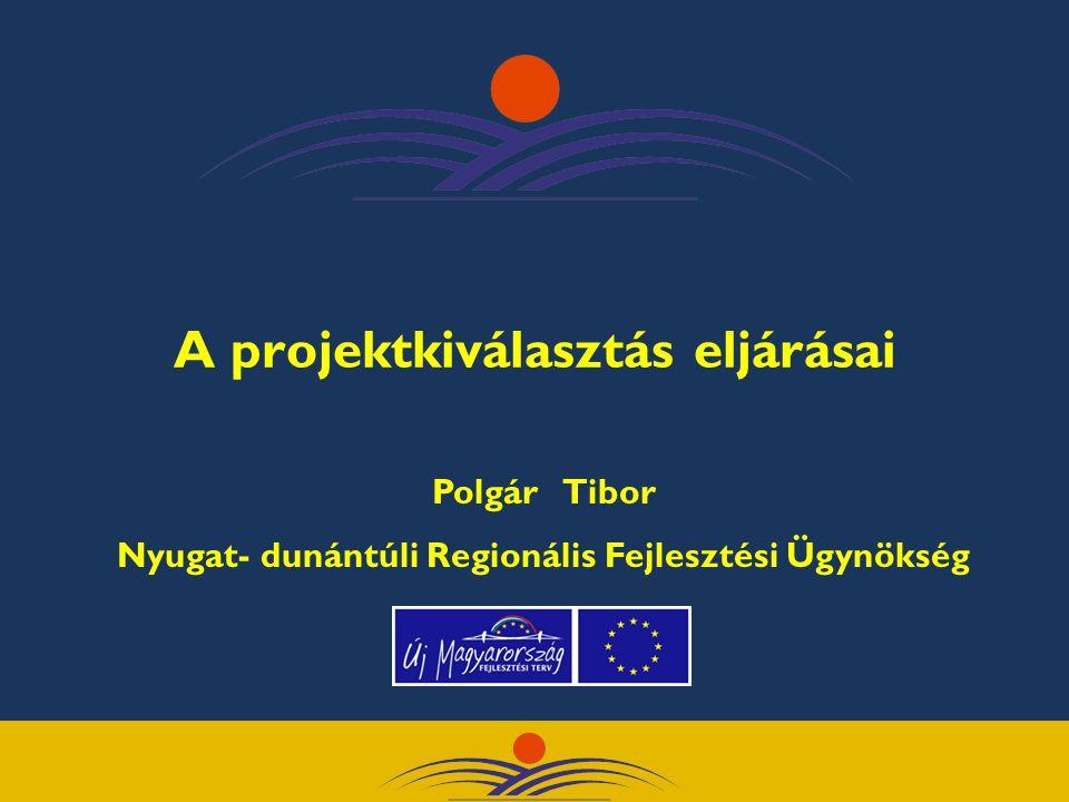A projektkiválasztás eljárásai