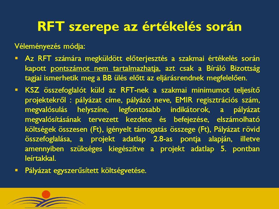 RFT szerepe az értékelés során