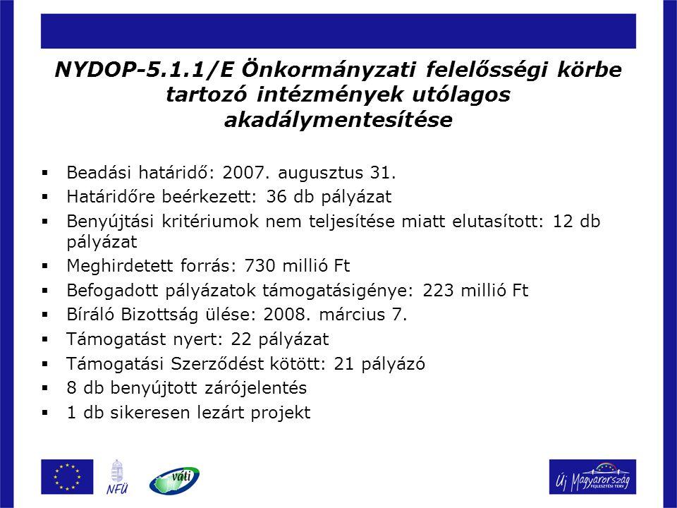 NYDOP-5.1.1/E Önkormányzati felelősségi körbe tartozó intézmények utólagos akadálymentesítése