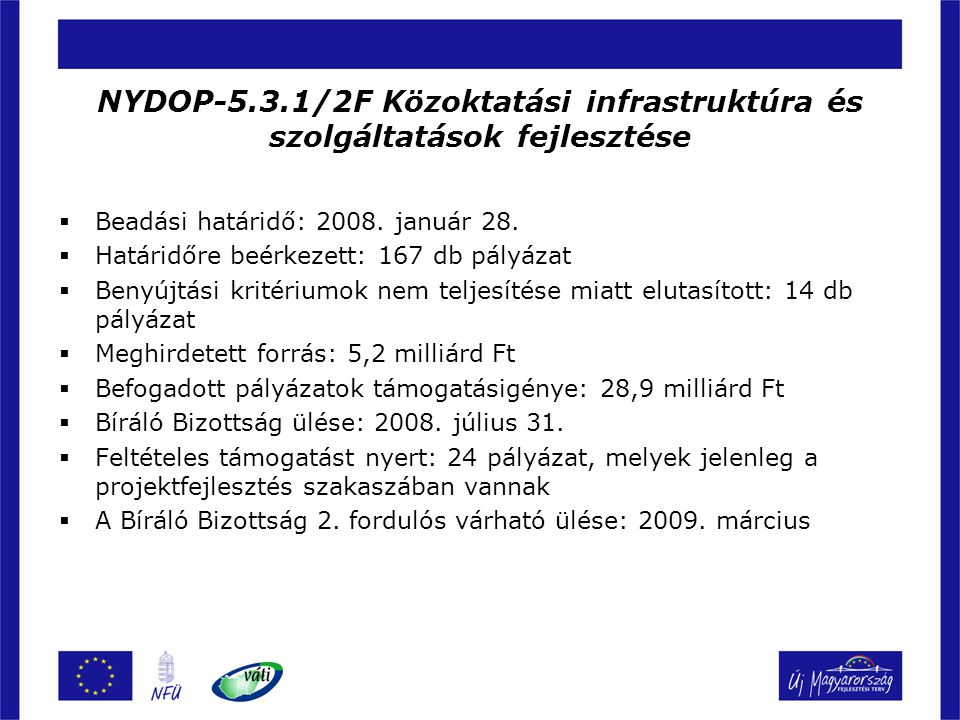 NYDOP-5.3.1/2F Közoktatási infrastruktúra és szolgáltatások fejlesztése