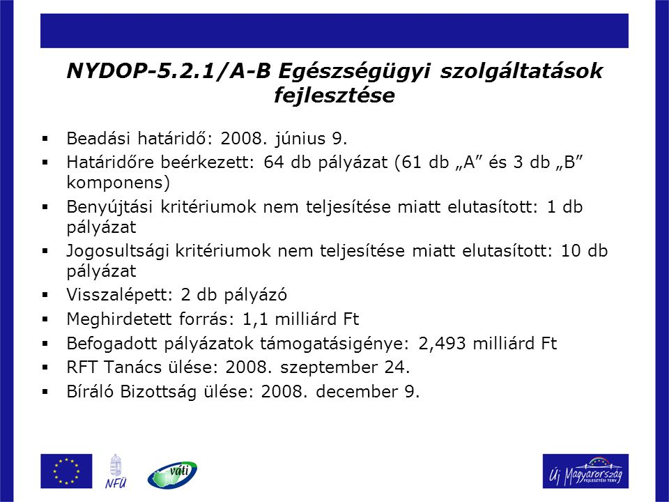 NYDOP-5.2.1/A-B Egészségügyi szolgáltatások fejlesztése
