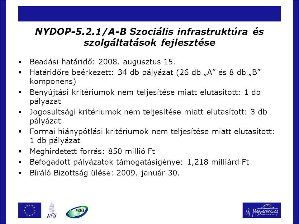 NYDOP-5.2.1/A-B Szociális infrastruktúra és szolgáltatások fejlesztése