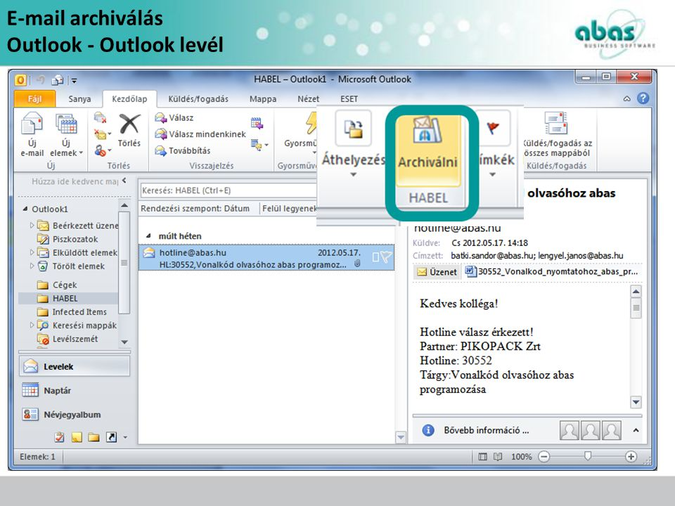 archiválás Outlook - Outlook levél