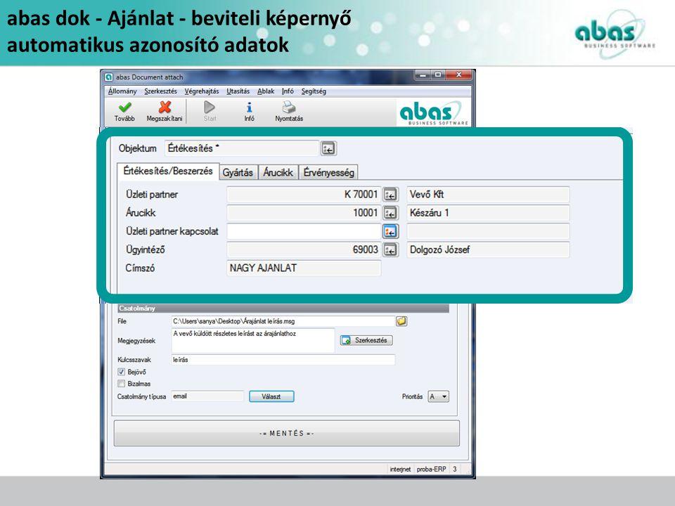 abas dok - Ajánlat - beviteli képernyő