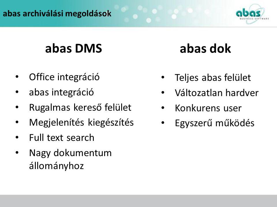 abas DMS abas dok Office integráció Teljes abas felület